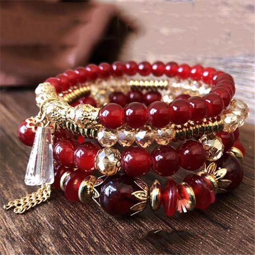 Trendy Multi Layers Elastic Rope With Crystal Beads Bracelet Set