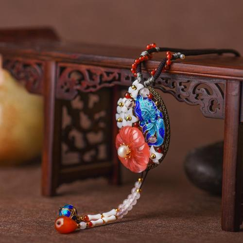Handmade Flower Agate Decorative Dangling Pendant String Cord Necklace
