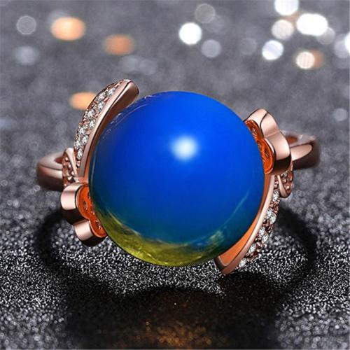Simple Style Blue Amber Embedded Bowknot Shape Adjustable Ring