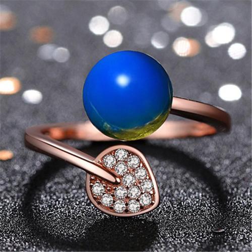 Open Design Trendy Plated Rose Gold Amber Adjustable Ring