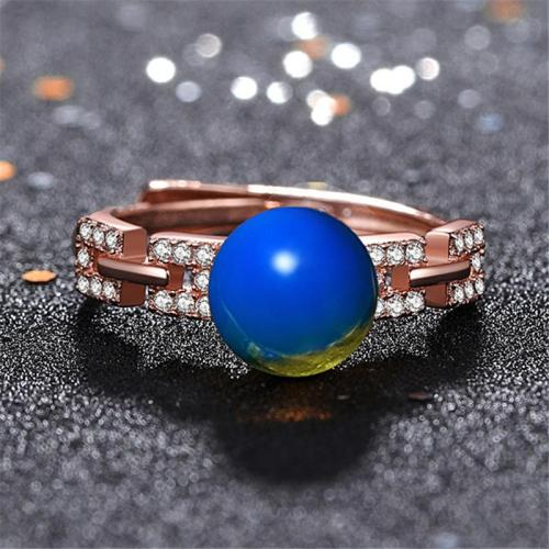 Elegant Style Plated Rose Gold Blue Amber With Decorative Zircon Adjustable Ring