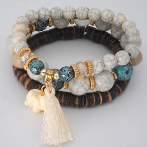 Vibrant Beaded Tassel Embellishment Gold-Tone Hardware Multi-Set Bracelet
