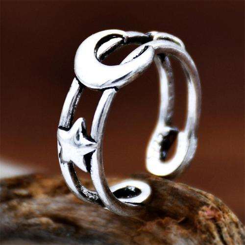 Open Design Double Band Moon-Star Embellishment Adjustable Ring