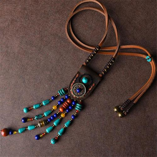 Lightweight Adjustable Cord Turquoise Beaded Pendant Necklace