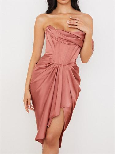 Graceful Off Shoulder Irregular Mini Trendy Dress