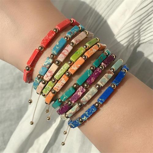 Retro Rectangle Beads Solid Color Adjustable Bracelet