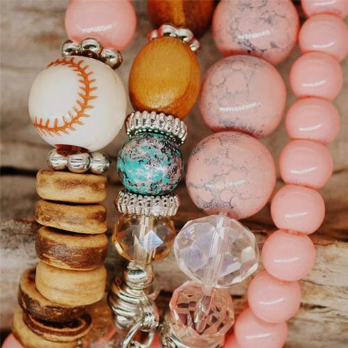 Bohemian 4 Layers Handmade Fashionable Shell Pendant Crystal Beads Bracelet  Set
