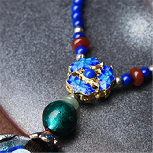 Elegant Vintage Style Coloured Glaze Pendant Necklace For Women