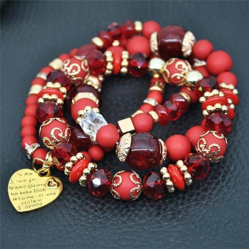 Bohemian Elastic Bracelet  With Beads And Heart Shape Pendant