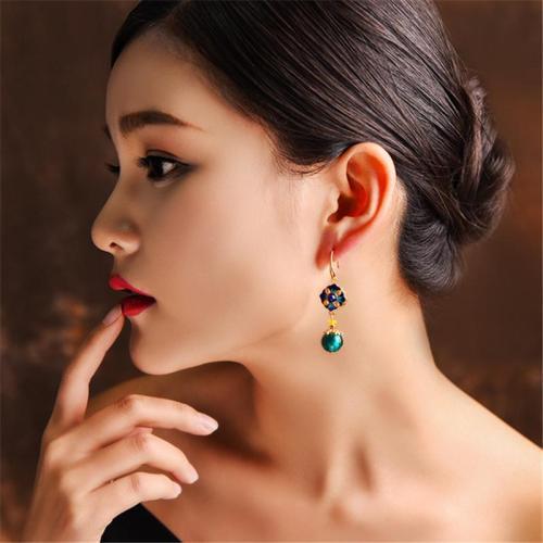 Coloured Glaze Trendy Personality Elegant Drop Earrings