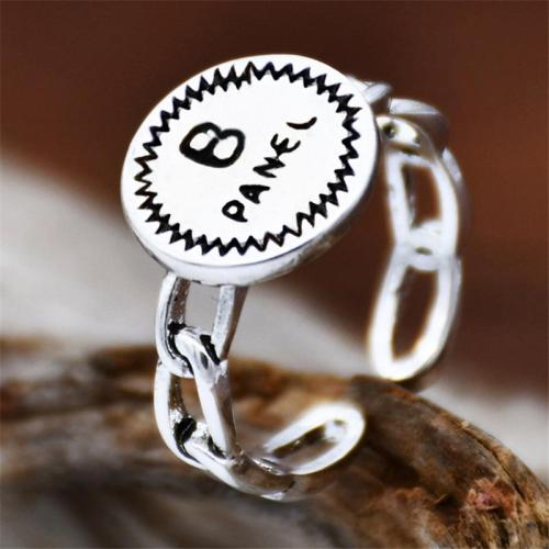 Engraved Lettering Silver-Tone Chain-Link Detail Adjustable Ring
