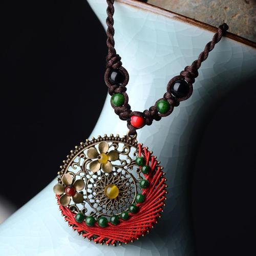 Handmade Bohemian Vintage Braided Long Costume Pendant Necklace