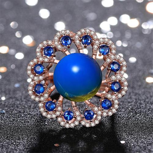 Women's Flower Shape Blue Amber Zircon Embedded Adjustable Ring