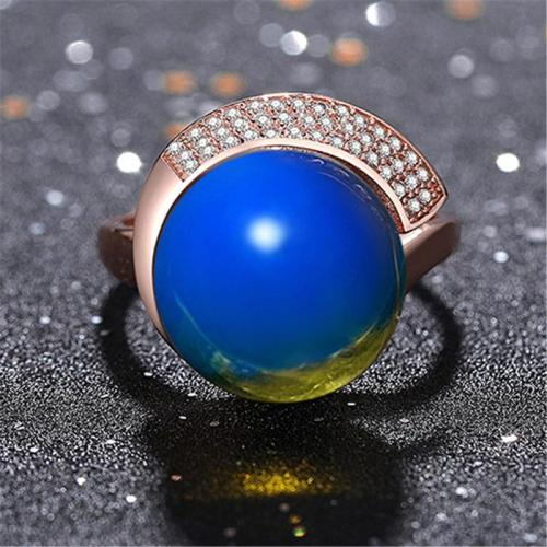 Casual Wear Comfortable Blue Amber With Zircon Adjustable Ring