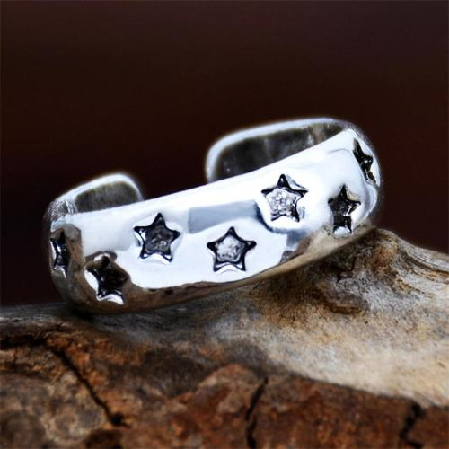 Star Engraved Antique Effect Silver-Tone Open Design Adjustable Ring
