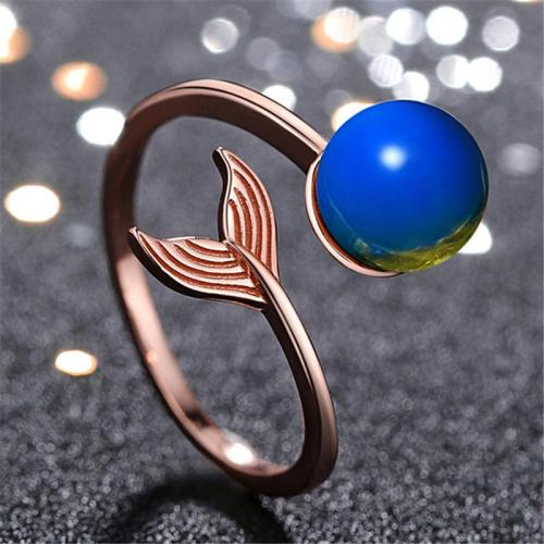 Elegant Casual Fishtail Shape Open Design Blue Amber Adjustable Ring