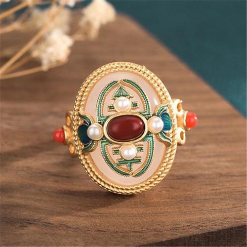 Elegant Vintage Style Colour Enamels With Jade Embedded Adjustable Ring