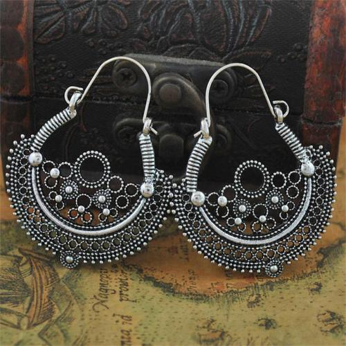 Bohemian Retro Style Single-Sided Hollow Carved Earrings