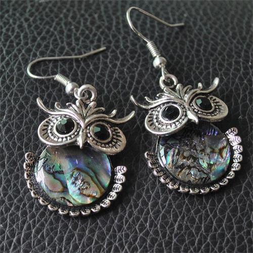 Vintage Style Shell Owl Elephant Pendant Elegant Earrings
