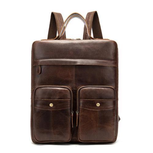 Fashion Vintage Large Capacity Leather Laptop Travelling Business Backpack