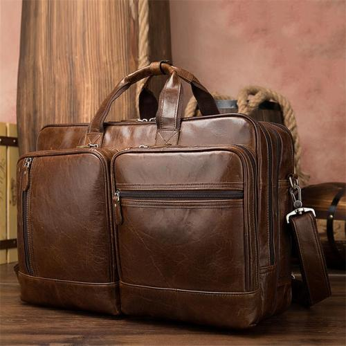 Trendy Chunky Large Capacity Simple Style Travelling Business Leather Handbag