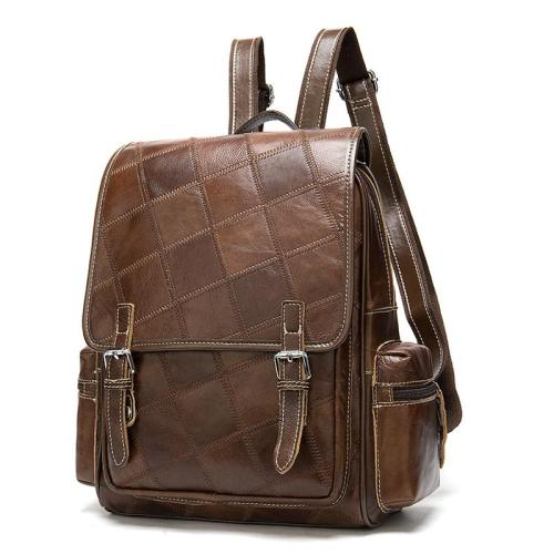 Womens Chunky Patchwork Plaid Leather Trendy Causal Travelling Backpack