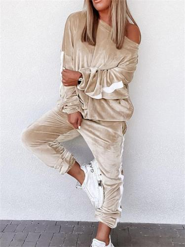 Fashion Long-Sleeved Solid Color Sweater + Comfortable Pants