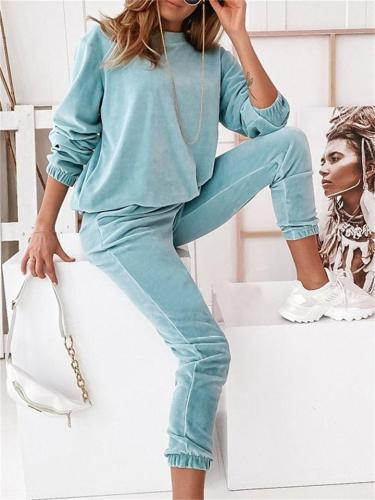 Comfy Solid Color Round Neck Long-Sleeved Sweater + Pants