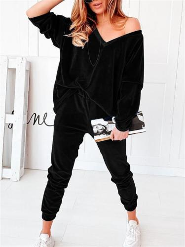 Simple Casual Solid Color Velvet V-Neck Long-Sleeved Sweaters + Slim Pants