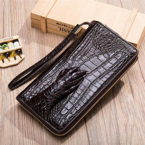Business Crocodile Simple Style Casual Durable Leather Clutch Bag