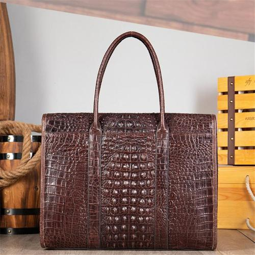 Casual Business Crocodile Leather Multipurpose Large Capacity Briefcase Handbag