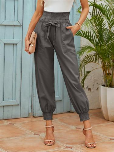 Roomy Patch Pocket Drawstring Waistband Elastic Cuff Ankle-Length Pants