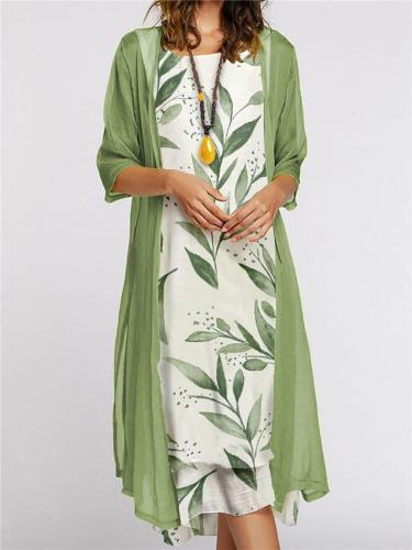 Elegant 2-Piece Lightweight Tulle Jacket + Floral Print Knee-Length Dress