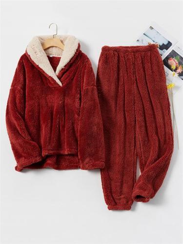 Ultra Warm Fur Thicken Loungwear 2-Piece Lapel Collar Top + Ankle-Length Pocket Pants