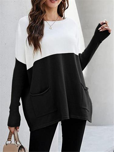Oversized Style Round Neck Long Sleeve Patch Pocket Colorblock Detailing Pullover Top