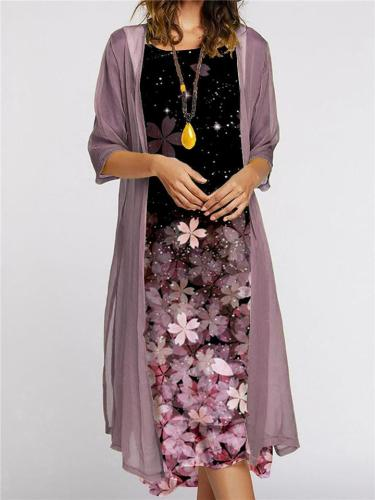 Graceful Casual Comfy Flowers Printed Round Neck Dress + Coat