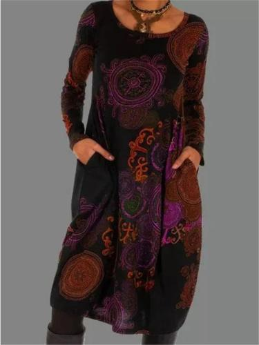 Vintage Style Long Sleeve Floral Print Knee-Length Pocket Dress