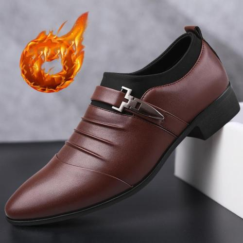 Casual Business Slip On Style Fleece Lining Dress Shoes