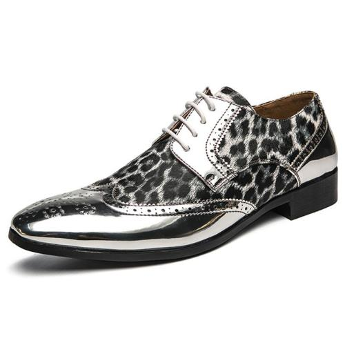 Casual Carved Sequined Leopard Print Stitching Pointed Toe Dress Shoes
