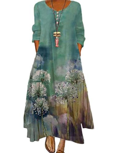 Loose Fit Round Neck Floral Print Asymmetric Hem Full-Length Dress