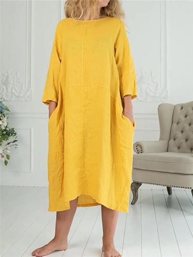 Loose Fit Solid Color 3/4 Sleeve Pullover Pocket Midi Basic Dress