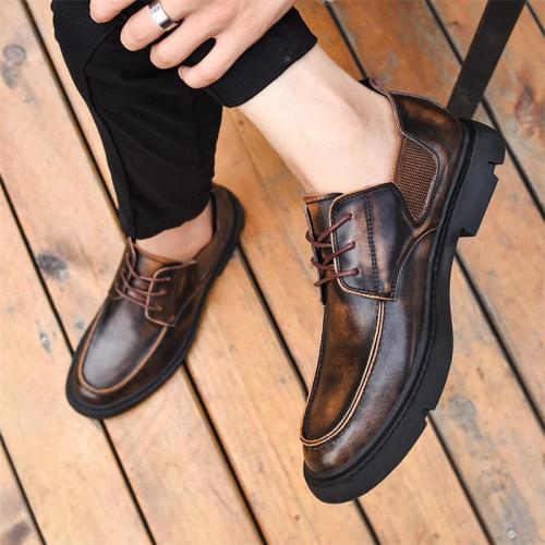 Men's Business Casual Lace-Up Design Fashion Retro Dress Shoes