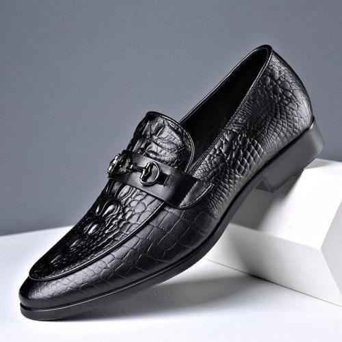 Slip On Style Business Crocodile Pattern Soft Dress Shoes