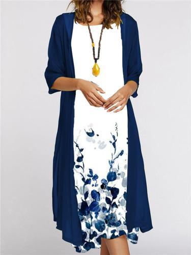 Stylish Floral Print 2-Piece Tulle Jacket Midi Vest Dress