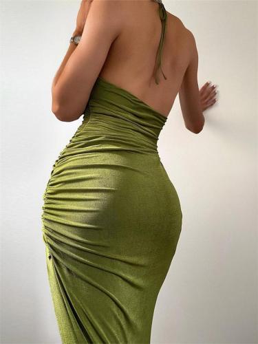 Scoop Neck Pleated High Side Slit Velvet Back Tie-Up Party Dress