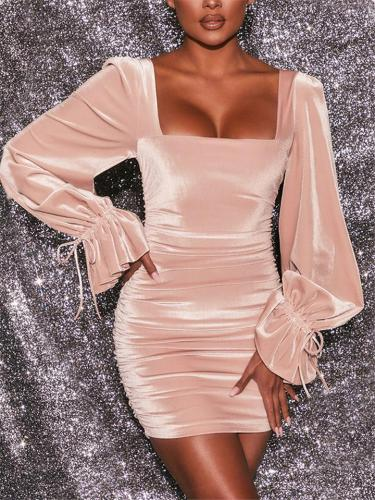 Elegant Square Neck Pleated Drawstring-Cuff Velvet Mini Party Dress