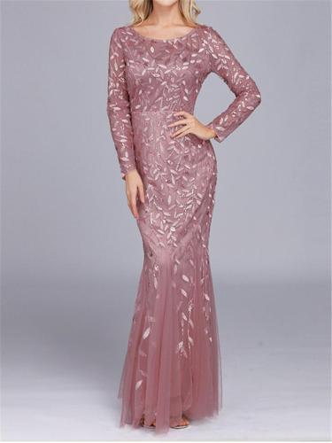 Elegant Vintage Style Long Sleeve Round Neck High-waist Evening Dress