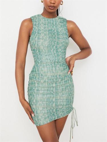 Sexy Pretty Sleeveless Tie-Dyed Pleated Side Drawstring Mini Dress