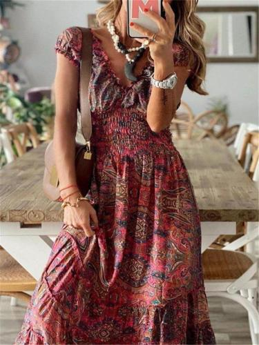 Loose V Neck Floral All-Over Print Short Sleeve High Waist Flare Dress