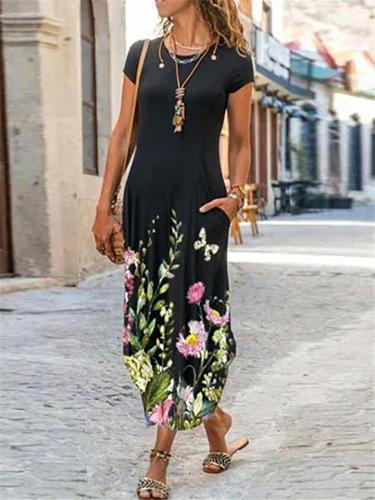 Round Neck Short Sleeve Pocket Floral All-Over Print Curved Hem Dress